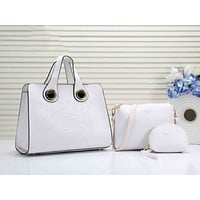 BURBERRY Fashion Women Shopping Bag Leather Handbag Tote Shoulder Bag Clutch Bag Wallet Three-Piece Set White