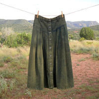 1990's SUNDANCE Olive Green Denim Maxi Skirt. Stone Washed. High Waist. Flare. Festival. Boho. Grunge. Medium M