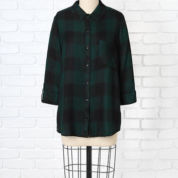 Green and Black Plaid Button-Up