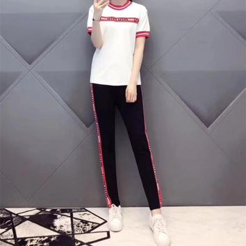"""Miu Miu"" Women Casual Fashion Multicolor Stripe Letter Webbing Short Sleeve Trousers Set Two-Piece Sportswear"
