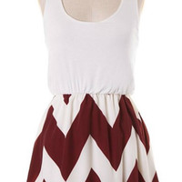 Show Time Chevron Short Dress - White and Maroon