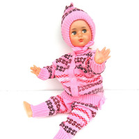 Woolen baby girl warm winter clothes vintage retro pink knitted sweather cardigan pants hat toddler baby set new old stock 1980s Soviet era