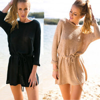 Autumn 3-color Long Sleeve Shaped One Piece Dress [4981694980]