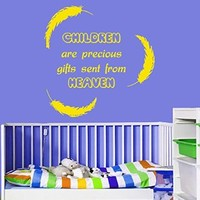 Wall Decals Vinyl Decal Sticker Mural Interior Design Quote Children Are Precious Gifts Sent From Heaven Feather Art Kids Nursery Baby Room Boy Girl Bedding Decor