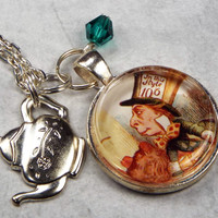 Mad Hatter  Alice in Wonderland Jewelry Glass Tile Art Necklace
