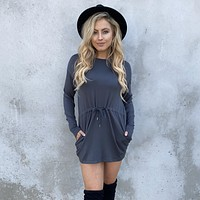 Nothing Better Charcoal Grey Fleece Dress