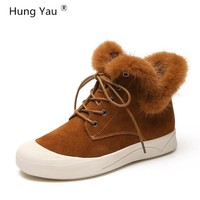 Hung Yau Snow Boots Leather Ankle Boots Warm Winter Boots Woman Black Brown Shoes Female Lace-Up Sneaker Black Shoes Size 35-39