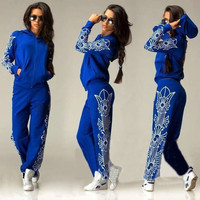 Fashion Women Sportwear Athletic Sweatshirt Pants Hoodie Top Suits Tracksuit Outfit Set = 1932593348