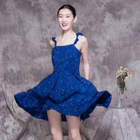 Star Constellations Printed Blue Flounce Strap Mini Dress