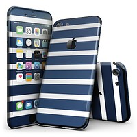 Navy Blue and White Horizontal Stripes - 4-Piece Skin Kit for the iPhone 7 or 7 Plus