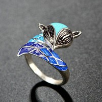 Handmade Vivid Fox Ring -Vintage Retro Ring + Gift Box