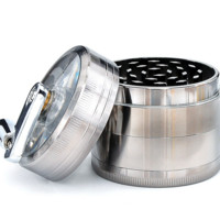 Chromium Crusher Metal Grinder with Handle - Clear Top - Four Pieces - 2 Inches