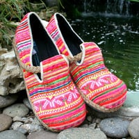Colorful Vegan Womens Shoes, Hmong Embroidered Pink Loafers - Casey