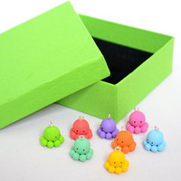 Rainbow Octopus Charms - Kawaii Polymer Clay Octopus (8pcs) Kid's Party Favours - Goodies