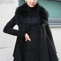 Korea Vogue Fur Collar Trim Collar Long Coat