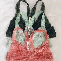 Racer Back Lace Bralette (Dark Olive, Grayed Jade, Peach)