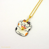 """Maneki-Neko Necklace """"Isidore"""" 