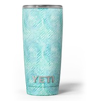 Green Watercolor Swirls and Diagonal Stripes Pattern - Skin Decal Vinyl Wrap Kit compatible with the Yeti Rambler Cooler Tumbler Cups