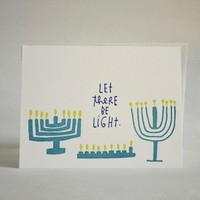 Hanukkah Light Letterpress Greeting Card