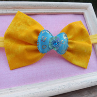 Yellow fabric bow headband for babies, toddlers, teens, and adults.          ~FABRIC BOW DEPOT~