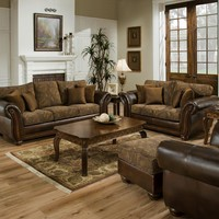 Simmons 8104 Zephyr Vintage Tobacco Leather Sofa and Loveseat