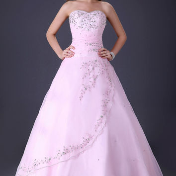 Pink Strapless Sweetheart Beaded Lace Up Quinceanera Dress