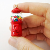 Miniature Gumball Machine Polymer Clay Miniature Mini Toy Charm Red Miniature Toy Clay Gumball Red Charm Doll House Toy