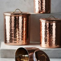 Copper-Plated Canisters by Anthropologie in Copper Size: Set Of 4 Dinnerware