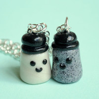 Salt and Pepper Best Friend Charm Necklaces