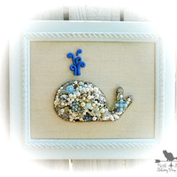 Framed Whale Art, Beach Decor, Coastal Chic Home Decor, Vintage Jewelry Art, Beach House Decor