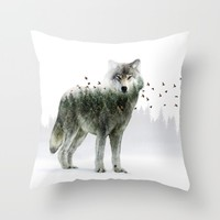 Wild I Shall Stay | Wolf Throw Pillow by Soaring Anchor Designs | Society6