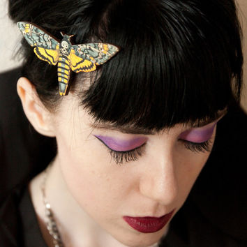 Deaths Head Moth, Creepy and Macabre Hair clip, realistic print.