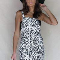 Try Harder White Leopard Overall Dress