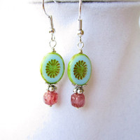 Teal & Green Czech Glass Oval and Pink Cathedral Czech Glass Drop Earrings