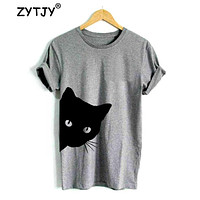 Cat Looking Out Side Tshirt Cotton Casual Funny For Lady Girl Top Tee Hipster