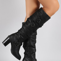 Wild Diva Lounge Strap Up and Buckle Chunky Heel Boots
