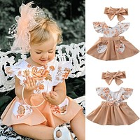 US Toddler Kid Baby Girls Party Pageant Bowknot Tutu Dress Princess Clothes Set