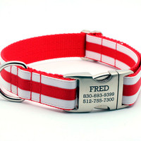 Layered Stripe Dog Collar with Laser Engraved Personalized Buckle - RED/WHITE