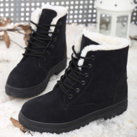 Winter snow boots thicker Martin boots warm boots with flat boots Black