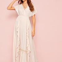 V Neck Ruffle Trim Lace Insert Maxi Dress