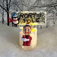 Elf with North Pole Sign, Fairy Miniatures, Christmas Decoration