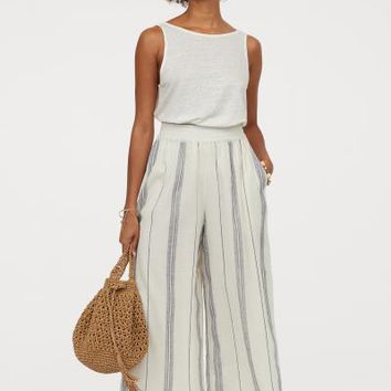 Wide-cut Pull-on Pants - White/blue striped - Ladies | H&M US