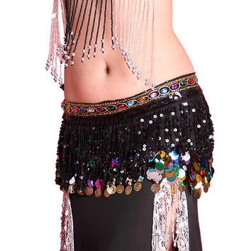 Multi Color Chiffon Belly Dance Hip Scarf Coin Sequin Belt Skirt Tassel Hip Wrap NW
