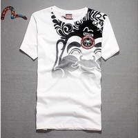Vintage Cotton Print Round-neck Short Sleeve Unisex T-shirts [10474618883]