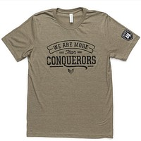 More Than Conquerors Tee - Heather Olive