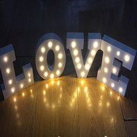 3Pcs/lot A-Z & White Wooden LED Letter Wedding Lights Signs for DIY Birthday Party Decoration with Warm White Lighting