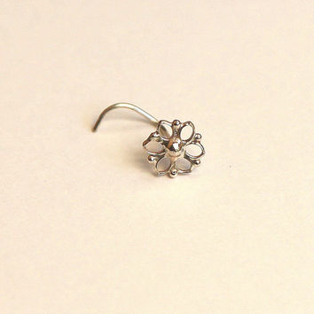Mandala Nose Stud Nose Jewelry Silver From Studiolil On Etsy