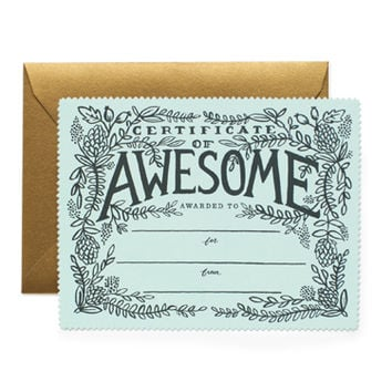 Rifle Paper Co. - Certificate of Awesome Flat Note