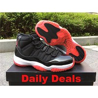 2017 Air Jordan 11 Retro AJ11 Black Leather Basketball Shoes