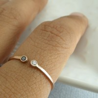 Rose Gold Ring with Black and White Diamonds